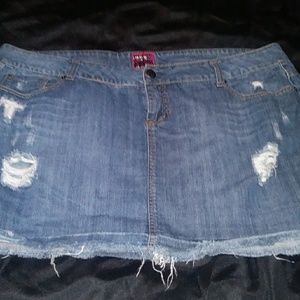 Torrid Distressed Denim Mini Skirt